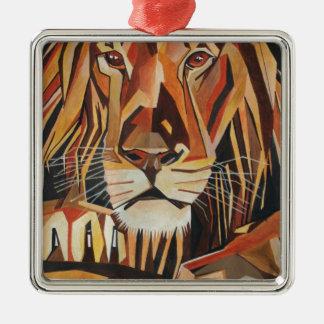 Lion Portrait in Cubist Style Silver-Colored Square Decoration