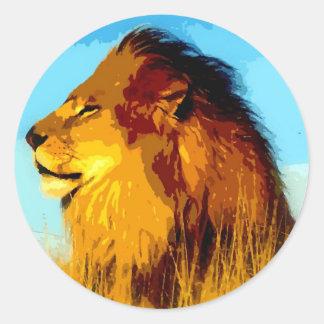 Lion Portrait Round Stickers