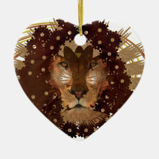 lion pride ceramic heart decoration