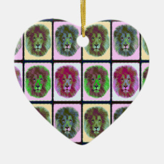 Lion Pride Pop Art Ceramic Heart Decoration