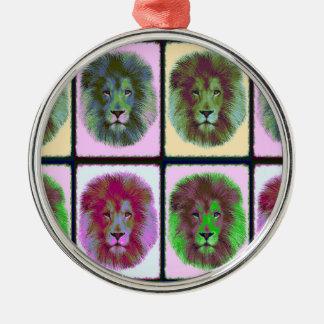 Lion Pride Pop Art Silver-Colored Round Decoration