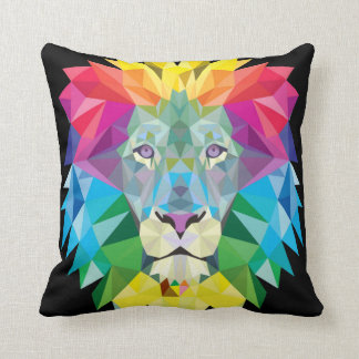 Lion Rainbow Solid Black Back Throw Pillow