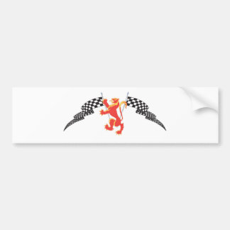 lion rampant and checkered flags bumper sticker
