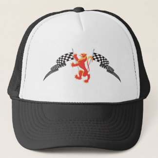 lion rampant and checkered flags trucker hat