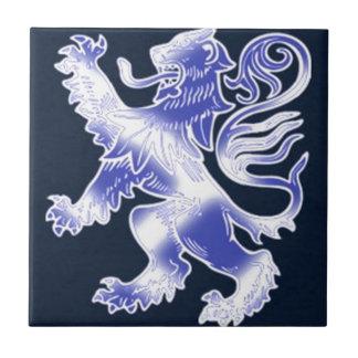 Lion Rampant Blue Ceramic Tile