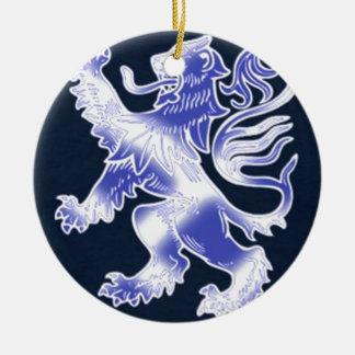 Lion Rampant Blue Round Ceramic Decoration