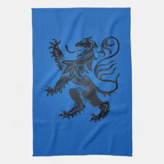 Lion Rampant Design, Intricate Blue and Black Tea Towel