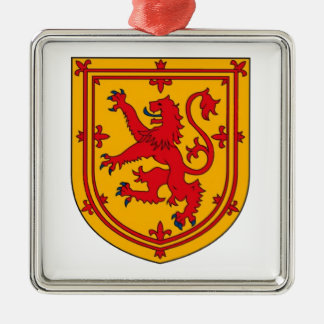 Lion Rampant on Gold Silver-Colored Square Decoration