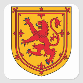 Lion Rampant on Gold Square Sticker