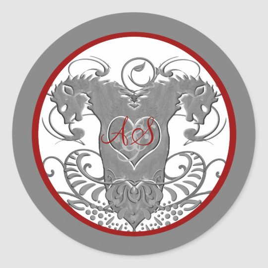 Lion Rampant Renaissance Wedding Classic Round Sticker