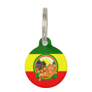 Lion rasta pet ID tag
