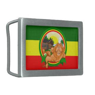 Lion rasta rectangular belt buckles