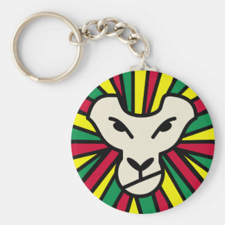 Lion Rastafari Coloured Mane Basic Round Button Key Ring
