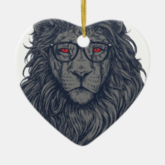 Lion redeye ceramic heart decoration
