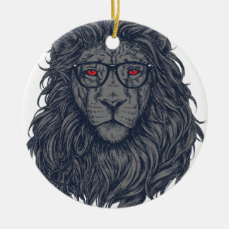 Lion redeye round ceramic decoration