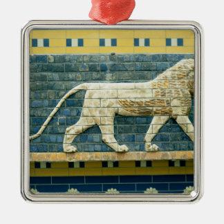 Lion representing Ishtar Silver-Colored Square Decoration