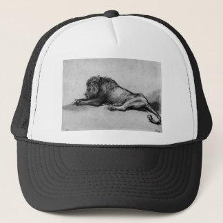 Lion resting by Rembrandt Trucker Hat