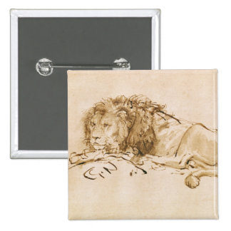 Lion Resting (pen and ink on paper) 15 Cm Square Badge