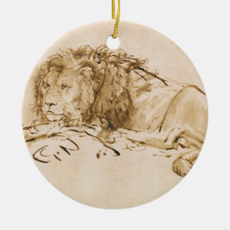 Lion Resting (pen and ink on paper) Christmas Ornament