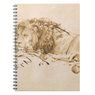 Lion Resting (pen and ink on paper) Spiral Notebook