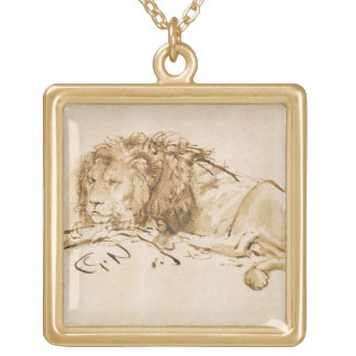 Lion Resting (pen and ink on paper) Square Pendant Necklace