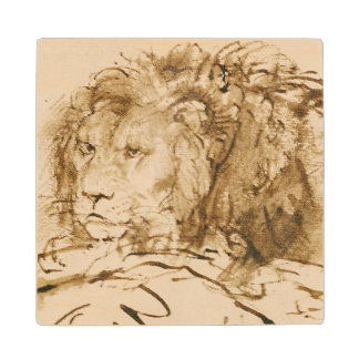 Lion Resting (pen and ink on paper) Wood Coaster