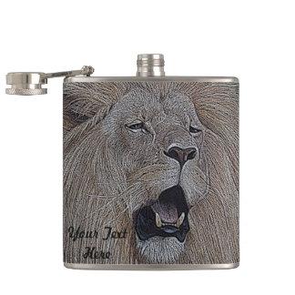 lion roaring big cat wildlife realist art flask