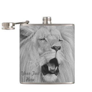 lion roaring big cat wildlife realist art hip flasks