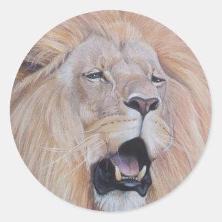 lion roaring big cat wildlife realist art stickers