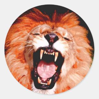 Lion Roaring Classic Round Sticker