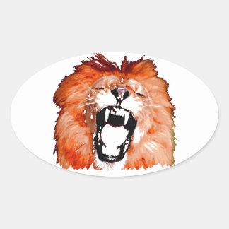 Lion Roaring Oval Sticker