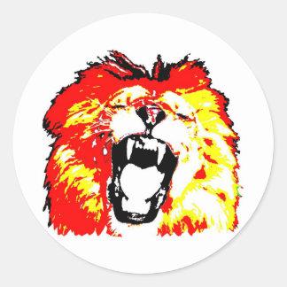 Lion Roaring Round Sticker