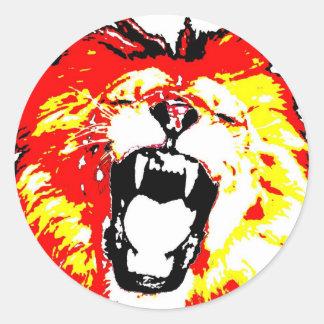 Lion Roaring Round Stickers