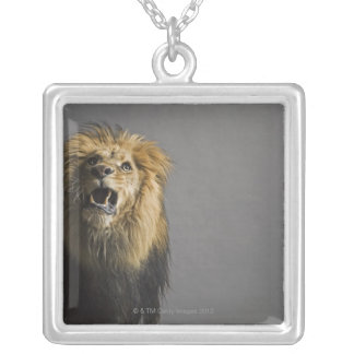 Lion roaring silver plated necklace