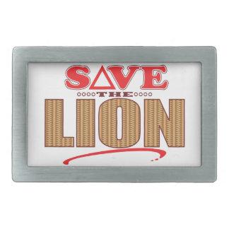 Lion Save Rectangular Belt Buckle