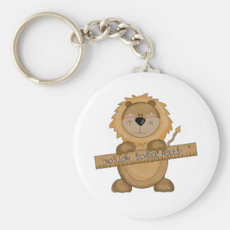 Lion School Rules T-shirts and Gifts Basic Round Button Key Ring