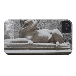 Lion sculpture covered in snow iPhone 4 cases