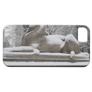 Lion sculpture covered in snow iPhone 5 cover