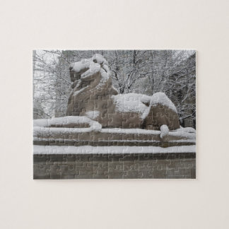 Lion sculpture covered in snow jigsaw puzzle