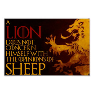 "Lion Sheep Poster (12"" x 8"")"