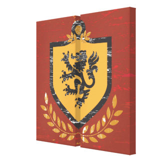 Lion Shield Coat of Arms Grunge Design Gallery Wrap Canvas