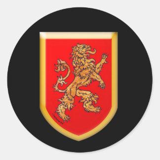 Lion Shield Gold Red Round Sticker