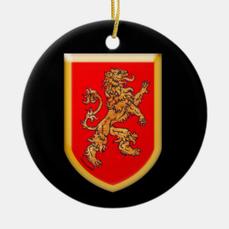 Lion Shield on Black Christmas Ornament