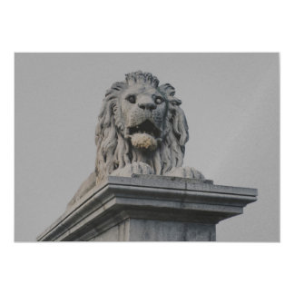 Lion statue 13 cm x 18 cm invitation card