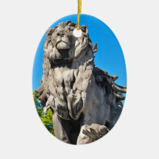 Lion statue ceramic oval decoration