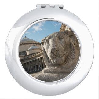 Lion statue in front of San Francesco di Paola Compact Mirror