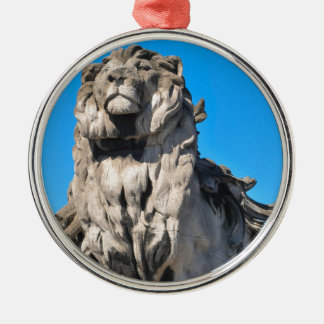 Lion statue Silver-Colored round decoration