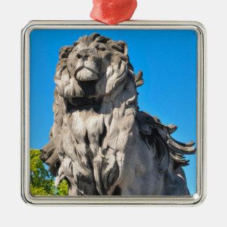 Lion statue Silver-Colored square decoration
