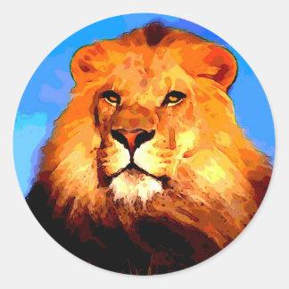 Lion Round Sticker