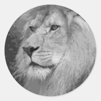 Lion Round Stickers
